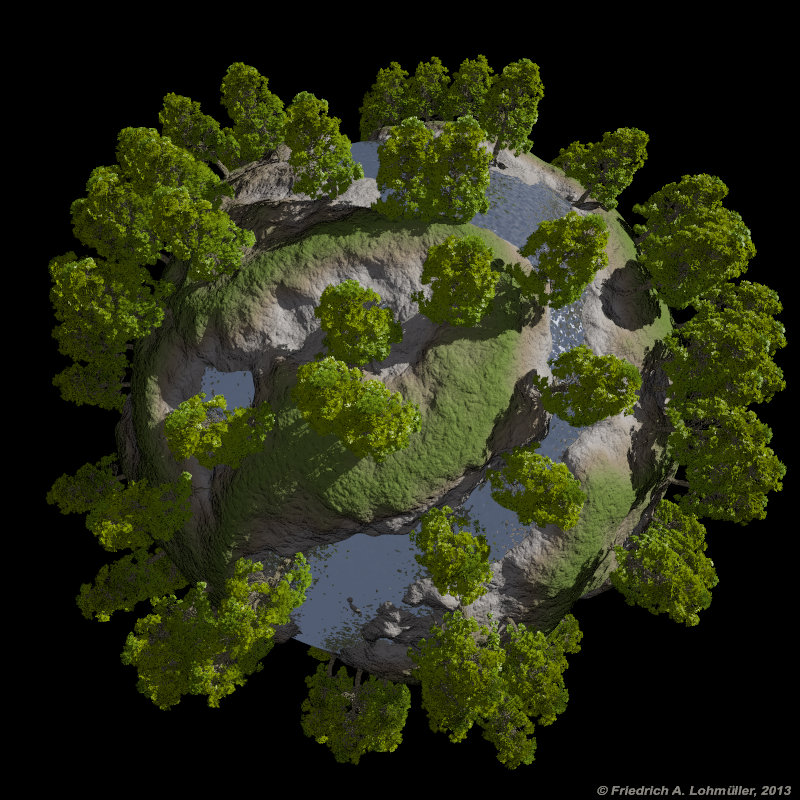 Raytracing Gallery Friedrich A Lohmueller Green Planet