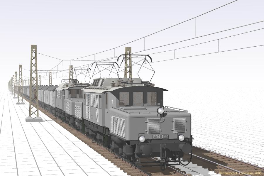 Electric Railway Engines E 93 And E94 Raytracing Gallery Friedrich A Lohmueller Fascination